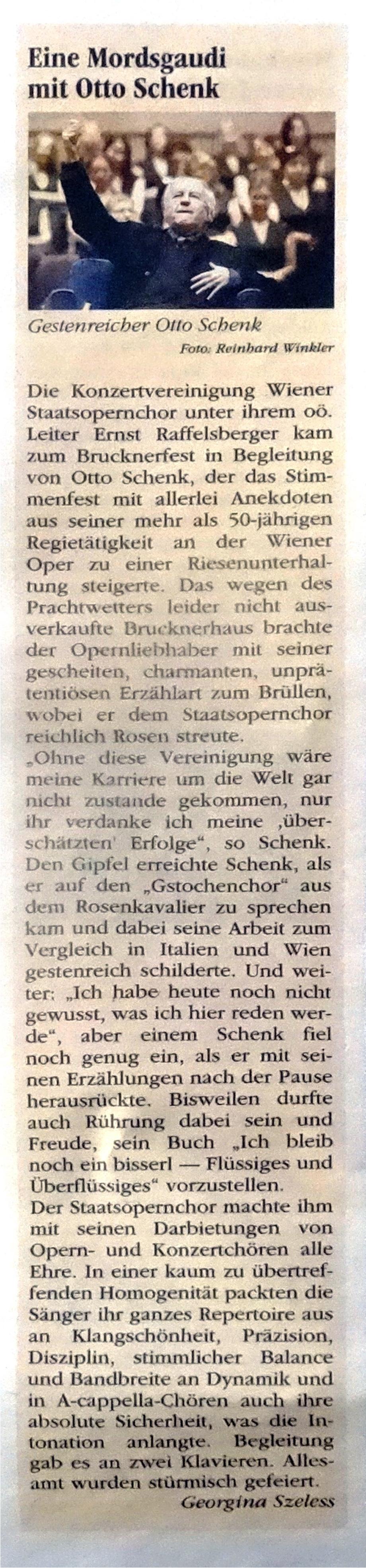 Kritik Volksblatt Konzertvereinigung Wr.STOP-Chor